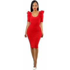 Fashion hot plus size women's sexy dresses s red
