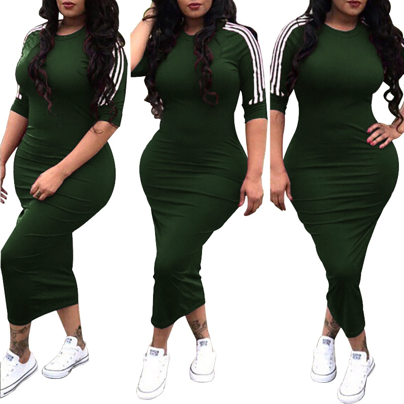 Fashion Hot Plus Size Women S Sexy Dresses For Covers Her Hips Biue