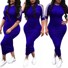 Fashion hot plus size women's sexy dresses for covers her hips biue s