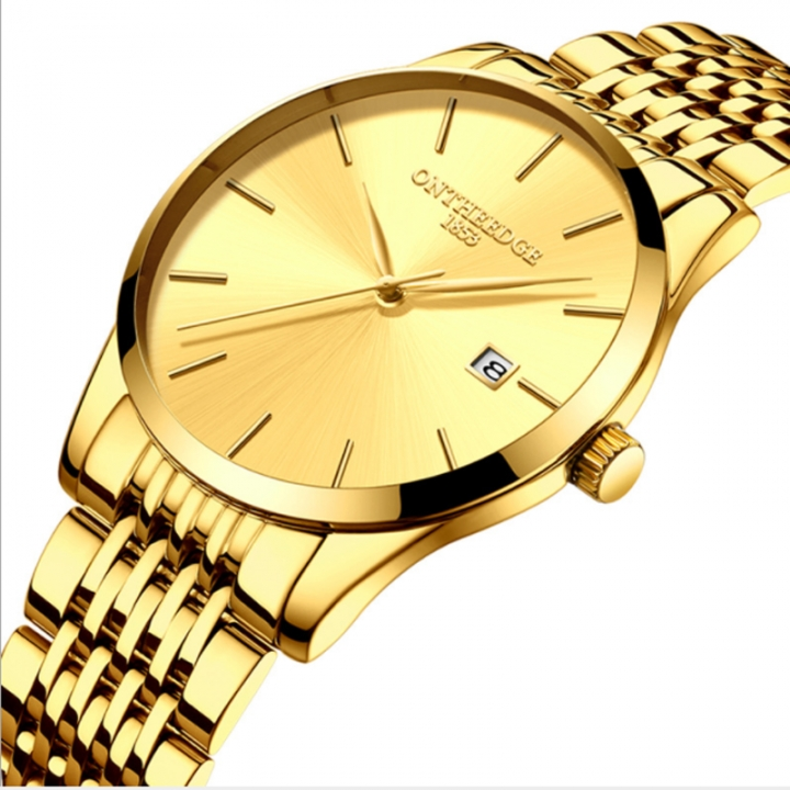 Ultra thin men's fine steel band quartz men's calendar waterproof watch wholesale wrist watch golden rzy023