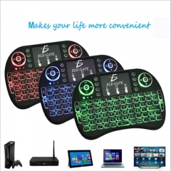 2.4G wireless flying squirrel keyboard I8 Mini touch keypad backlight english edition black Rolling light English version
