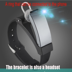 Smart Bracelet Bluetooth headset two in one sports health smart phone watch bracelet Earphones black.