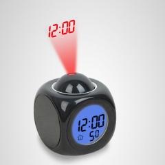 Multi-function LED projection alarm clock 2018 new fashion creative home projector alarm clock black
