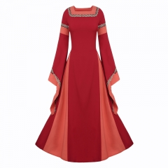 square collar  long sleeve  trumpet sleeve long dresses dress Evening dresses S red
