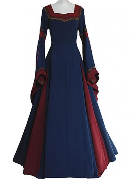square collar  long sleeve  trumpet sleeve long dresses dress Evening dresses M deep blue