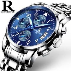 Swiss Men's Night Light Fashion Watch men watch [ 028 steel strip ]silver edge of blue bottom rzy-028