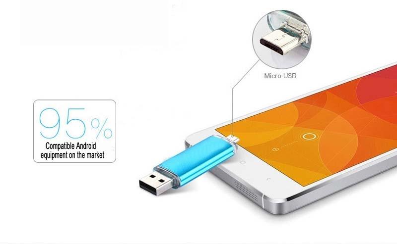 Mobile phone dual purpose OTG USB Android plug 32G flash disk  flashdisk  flash drive Memory Card blue yd-09 32G 6