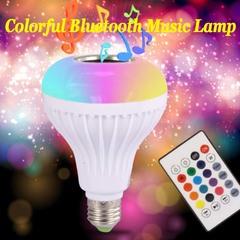 Music bulbs wireless remote control audio bulbs intelligent seven color remote control RGB bulb lamp white 6W With remote control + white light
