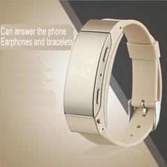 Smart Bracelet Bluetooth headset two in one sports health smart phone watch bracelet Earphones golden
