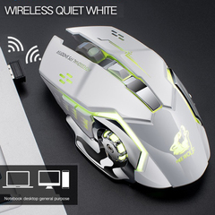 X8 Wireless Charging Game Mouse Quiet Luminescent Mechanical Mouse white USB Wireless