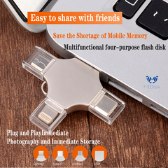 Metal Phone flashdisk Applicable to iphone Android Type-c USB 3.0 flash disk pen drive as show aw128 4G