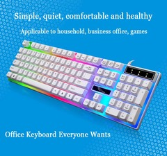 Luminescent keyboard with colorful backlight USB wired mechanical feel black one size