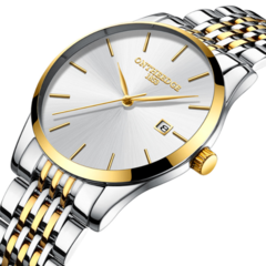 Ultra thin men's fine steel band quartz men's calendar waterproof watch wholesale wrist watch White  bottom golden edge rzy023