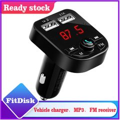 FitDisk Bluetooth Fast Car USB Charger USB Car Charger FM Transmitter Aux Modulator Audio MP3 Player Black