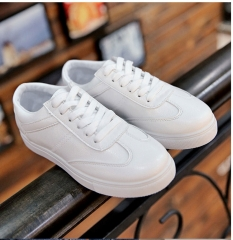 White shoes comfortable flat shoes youth sports shoes four seasons shoes solid color women's shoes white 35