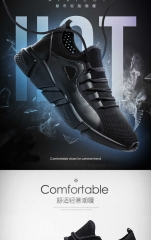 2018 fashion men's casual shoes breathable comfort sports shoes anti-skid wear black 39