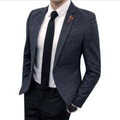 •Suit man handsome man casual suit trend western men's suit jacket grey M