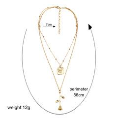 Rosette alloy pendant simple style multi-layer geometric women's necklace boho rose  gold 56cm