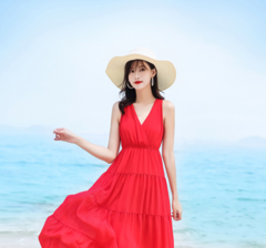 A slim red v-neck chiffon dress for kids in a new 2019 summer beach holiday dress s red