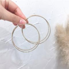 Korean stainless steel lady gold hoop earrings golden 7cm