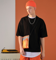 2019 summer new fashion trend men's short-sleeved round neck print t-shirt top black s