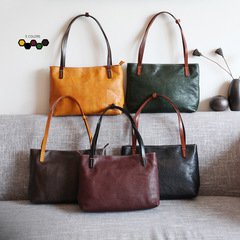 new original handwork full grain cow leather lady's contrasting colors tote handbag black one size