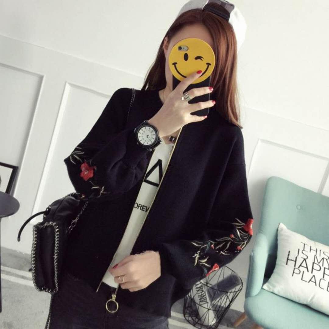 17/5000 Autumn winter, embroider baseball dress, female jacket, embroider  sweater N 20 black average size