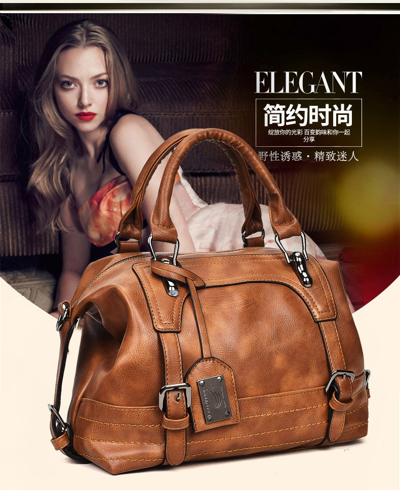 168d3b3e6bf5 New European and American fashion womens bags temperament Retro handbag  shoulder bags light brown one size