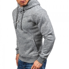 ZYW men's warm hooded hooded jacket with thick cotton jacket Light grey S
