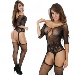 Jacquard sexy conjoined nets, suspenders, tights, long sleeves, suspenders and lingerie underwear. black Uniform code