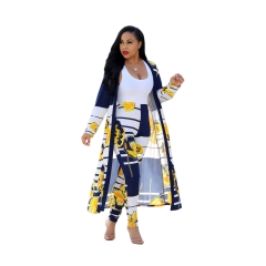 Fashion digital printing cloak and bottompants casual suit yellow xl
