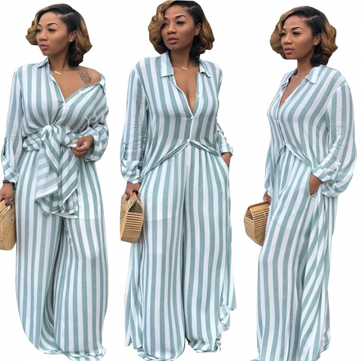 d1445699ca4 Casual striped printing long loose shirt wide leg pants two piece ...