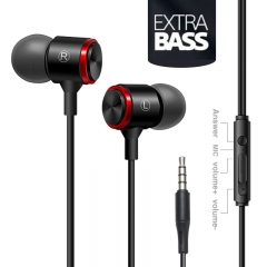 Metal heavy bass phone earphone ear movement computer wire control