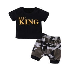 Children's wear King Letter Camouflage shorts suit Picture color 90cm