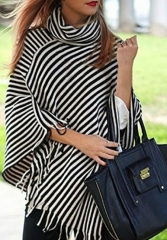 New women's stripes irregular tassels high necked blouse t-shirts Black and white stripes Uniform code