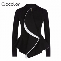 New wooden ears and zipper long sleeved lady's suit black s