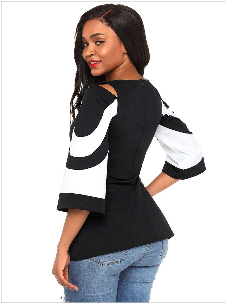 da1448e6c12 Blouse Black White Colorblock Bell Sleeve Cold Shoulder Mujer Camisa ...