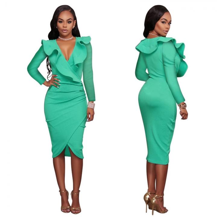 Women long sleeve Sexy Ladies Bodycon Dress V Neck OL Pencil Ruffles Bandage  Package Hip Vestidos afb6a876ddc1