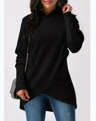 Hoodie Women 2018 Hooded Sweatshirt Casual Long Sleeve Pullovers Loose Asymmetric Hoodie black l
