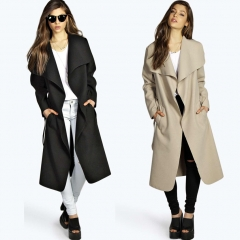 New Coat Women Wide Lapel Belt Pocket Wool Blend Oversize Long Red Trench  Outwear Wool Coat black m