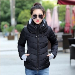 Women Winter Jacket Parkas Thicken Outerwear solid hooded Short Female Slim Cotton padded basic tops black xl