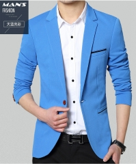 2019 fashion new men leisure business suit / Men's suit jacket blazers coat blue m