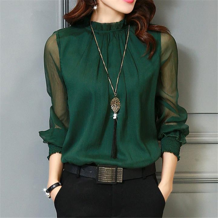 Chiffon Blouse 2018 Women Tops Long Sleeve Stand Neck Work Wear Shirts  Elegant Lady Blouses Casual black 2xl 626b51cf5