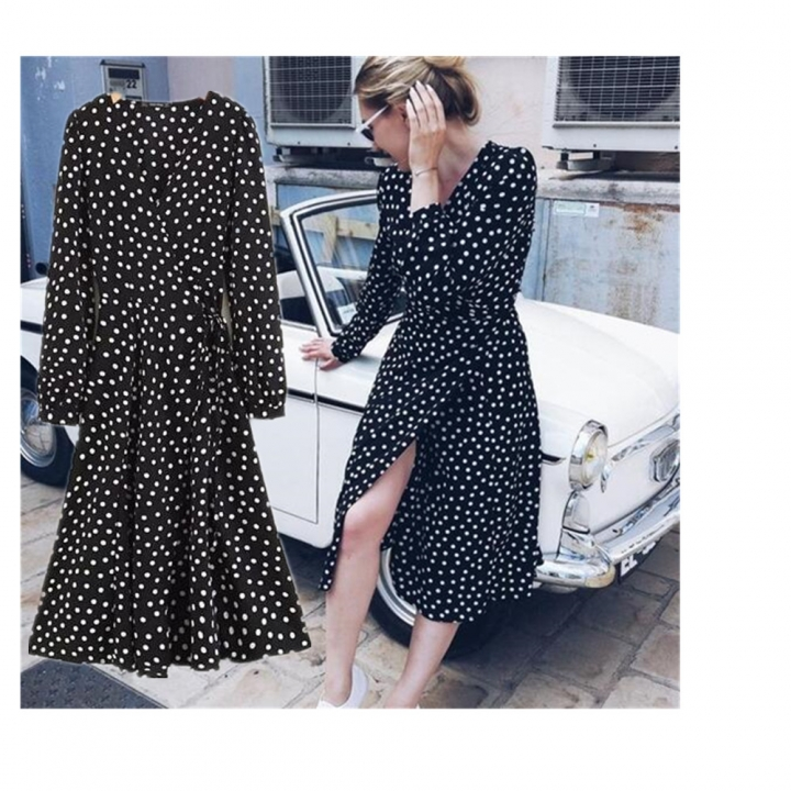 c55243f6f12e3 2018 Women White Black Polka Dots Chiffon Dress Puff Sleeves Midi Long Dress  Vintage Wrap Dresses