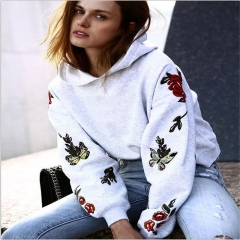 New fashion womens coat Color butterfly printing with long sleeves and caps gray xl