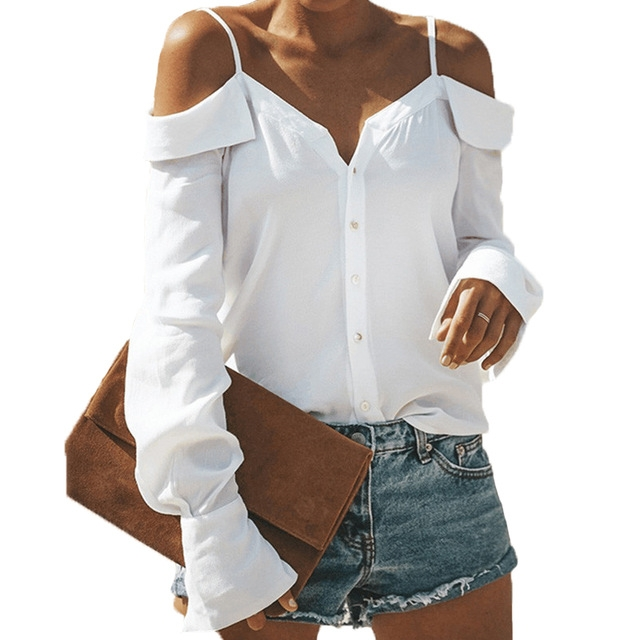 4b2625788a364 2019 Fashion Off Shoulder Top Female V Neck Spaghetti Strap Shirt Long  Sleeve Pullover Tops Tee white s  Product No  2176262. Item specifics   Brand