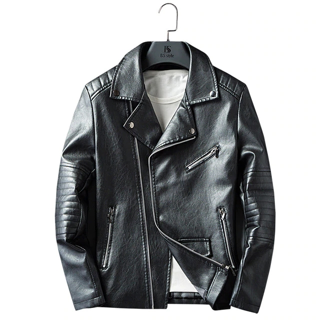 6c4a4774 Casual Zipper PU Leather Jacket Motorcycle Leather Jacket Men Slim Fit Mens  Jackets And Coats black 2xl