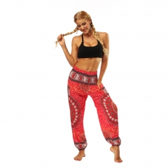 Women's Harem Pants Bohemian Clothes Boho Yoga Hippie Pants Smocked Waist FREE SIZE Red