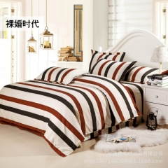 Striped Bedding 4 pcs Sets  Soft Breathable Comfortable Printed Hotel Duvet Cover Set wine red/black striped 1.8m Bed