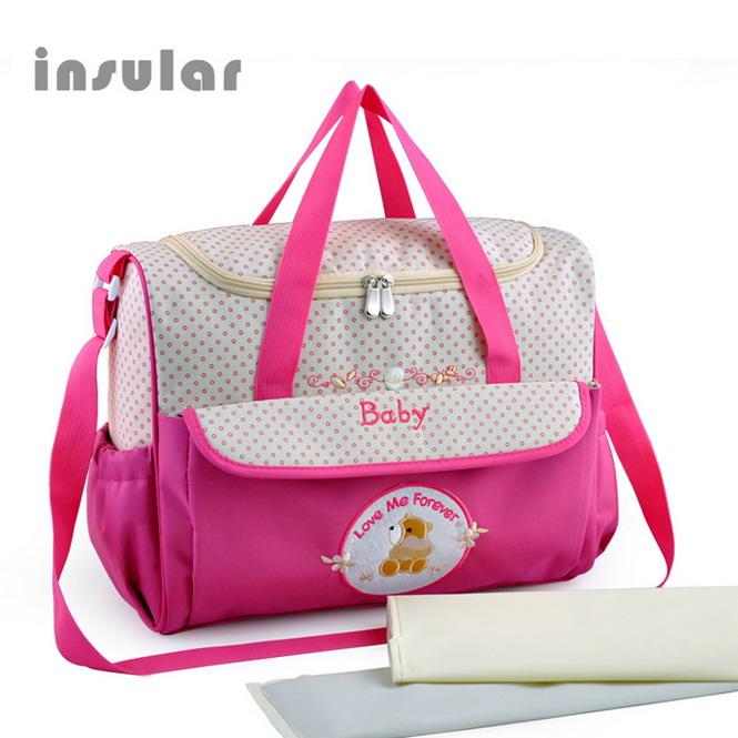 Diaper Bag Mom Maternity Nappy Bag print Large Capacity Travel Backpack 8161# Plum Red 39x19x29cm